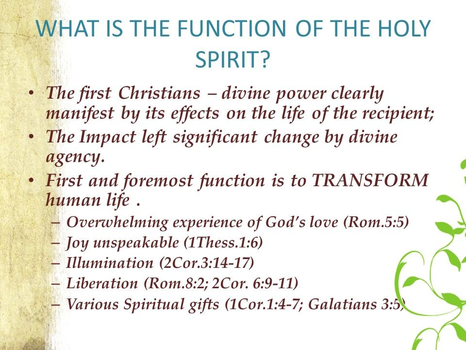 Relationship with the Holy Spirit - Relationship with God