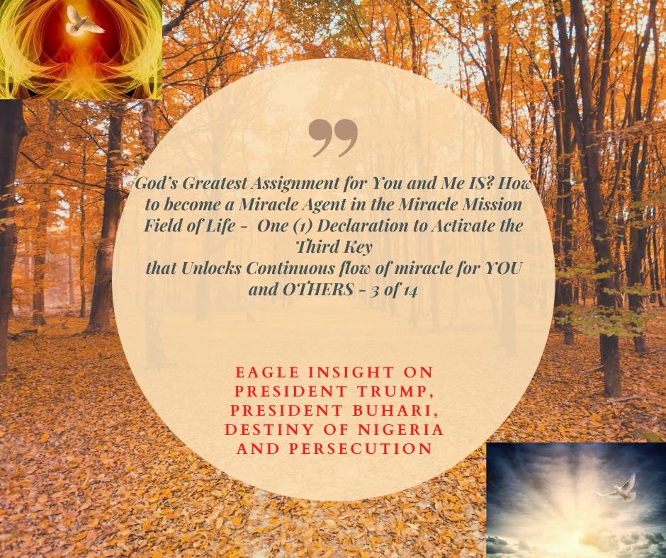 God's Greatest Assignment for You and Me IS? How to become a Miracle Agent in the Miracle Mission Field of Life - One (1) Declaration to Activate the Third Key that Unlocks Continuous flow of miracle for YOU and OTHERS - 3 of 14 + Eagle Insight on President Trump, President Buhari, Destiny of Nigeria and Persecution