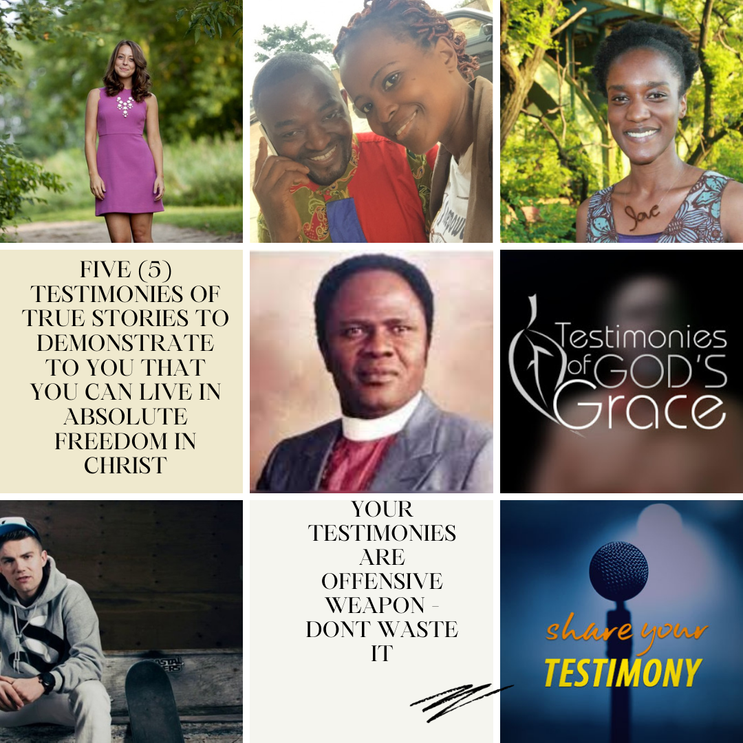 1) Five (5) testimonies of true stories to demonstrate to you that you can live in absolute freedom in Christ: Late Archbishop Benson Idahosa's Encounter with Armed Robbers + I met God When My plane crashed - Dave Jonsson + The Search is Over – Rachel Duelo + I am Restored - Laila Son + Divine Healing From Sickle Cell Anemia - Joelle Shekinah