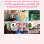 Revival and Unity – WHAT IS THE VALUE OF ONE SOUL TO GOD? For How Much will you sell  YOUR OWN SOUL to a third party if offered the Option? 20 of 40